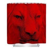 Frankie Lion Red Shower Curtain