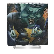 Frankinstein Playing The Air Guitar - Parody - Illustration - Monster Monsters - Humorous Shower Curtain