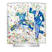 Fred Astaire And Ginger Rogers Watercolor Portrait Shower Curtain