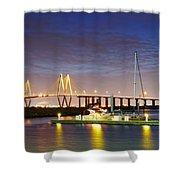Fred Hartman Bridge From Bayland Marina - Houston Texas Shower Curtain