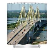 Fred Hartman Bridge Houston Shower Curtain
