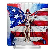 Free As Independence Day Shower Curtain by Shana Rowe Jackson