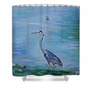 Free Spirit Blue Heron Shower Curtain