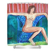 Dare To Be Bare In A Big Green Chair Shower Curtain