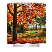 Freedom Of Autumn - Palette Knife Oil Painting On Canvas By Leonid Afremov Shower Curtain