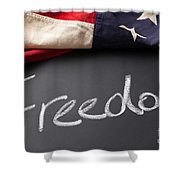 Freedom Sign On Chalkboard Shower Curtain