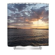 Freeport Cloudy Summertime Sunset Shower Curtain