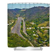 Freeway Sepulveda Pass Traffic Bel Air Crest California Shower Curtain