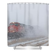 Train In Blizzard Snow Shower Curtain