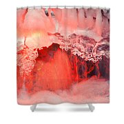 Freezing Waterfall Glowing In Red Light Shower Curtain