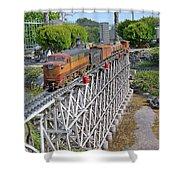 Freight Train Bridge Crossing Shower Curtain