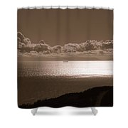 Freighter And The Catalina Channel Shower Curtain