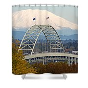 Fremont Bridge And Mount Saint Helens Shower Curtain