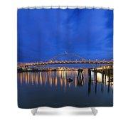 Fremont Bridge Blues Shower Curtain