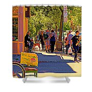 French Bread On Laurier Street Montreal Cafe Scene Sunny Corner With Vente De Garage Sign Shower Curtain