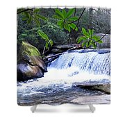 French Broad River Waterfall Shower Curtain