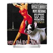 French Bulldog Art - Una Parigina Movie Poster Shower Curtain