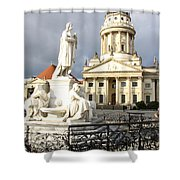 French Cathedral And Statue Gendarmenmarkt Germany Shower Curtain