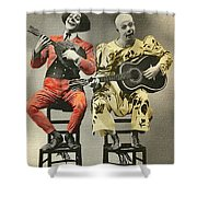 French Clown Musicians Vintage Art Reproduction Tint Shower Curtain