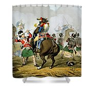 French Cuirassiers At The Battle Shower Curtain by John Augustus Atkinson