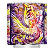 French Curve Abstract Movement Vii Happy Trio Shower Curtain
