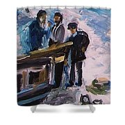 French Fishermen At Beach At Sainte Adresse Shower Curtain