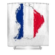 French Guiana Painted Flag Map Shower Curtain