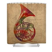 French Horn Brass Instrument Watercolor Portrait On Worn Canvas Shower Curtain