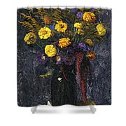 French Marigold Purple Daisies And Golden Sheaves Shower Curtain