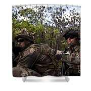 French Marines Scout Ahead Of A Patrol Shower Curtain