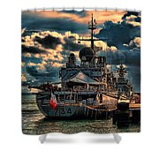 French Naval Frigate Shower Curtain