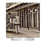 French Quarter Carriage Ride Sepia Shower Curtain