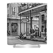 French Quarter - Hangin' Out Bw Shower Curtain by Steve Harrington