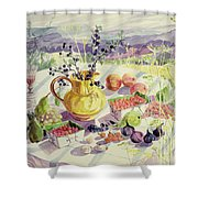 French Table Shower Curtain by Elizabeth Jane Lloyd