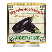 French Vegetable Sign 3 Shower Curtain by Debbie DeWitt
