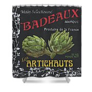 French Veggie Labels 1 Shower Curtain by Debbie DeWitt