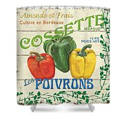 French Veggie Sign 4 Shower Curtain