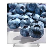 Fresh And Natural Blueberries Close Up On White Shower Curtain