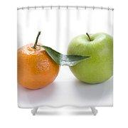 Fresh Apple And Orange On White Shower Curtain