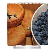 Fresh Blueberries And Muffins Shower Curtain