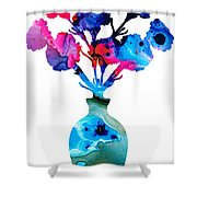 Fresh Cut - Vibrant Flowers Floral Painting Shower Curtain