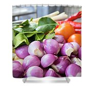 Fresh Ingredients For Cooking Chicken Curry Sauce Closeup Shower Curtain