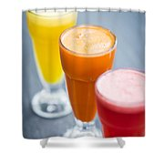 Fresh Orange Carrot And Watermelon Fruit Juice Shower Curtain