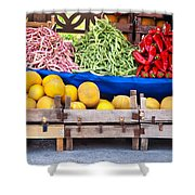 Fresh Organic Fruits And Vegetables At A Street Market Shower Curtain