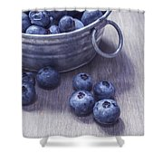 Fresh Picked Blueberries With Vintage Feel Shower Curtain