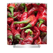 Fresh Red Chili Peppers At Local Street Market In Dunhuang China Shower Curtain