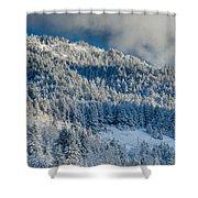 Fresh Snow On The Mountain Shower Curtain
