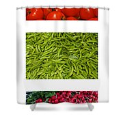 Fresh Vegetable Triptych Shower Curtain