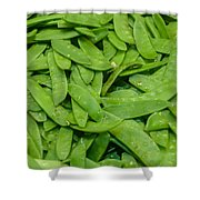 Freshly Harvested Peas On Display At The Farmers Market Shower Curtain