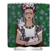 Frida Cat Lover  Shower Curtain